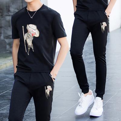 韩版休闲运动套装男士短袖t恤衫情侣两件套潮流半袖衣服裤子一套