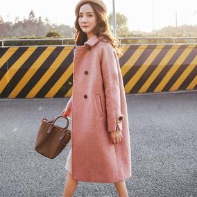 雾霾蓝大衣女中长款韩版2017新款韩国赫本风阿尔巴卡呢子毛呢外套