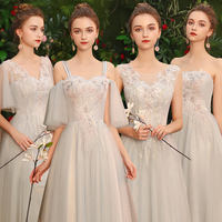 Gray bridesmaid dress temperament female 2019 new summer long section slim sisters group bridesmaid dress graduation dress