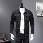 衣服时尚 外套潮 春秋黑色帅气牛仔夹克男简约百搭休闲欧美上衣长袖