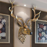 Simulated deer head wall hanging American retro ornamentwall jewelry jewelry jewelry animal head Nordic style Secret off living room pendant