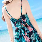 夏季新品女装露背吊带荷花雪纺连衣裙波西米亚长裙海边度假沙滩裙