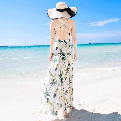 夏季泰国巴厘岛女装海边度假沙滩裙露背吊带连衣裙波西米亚长裙子