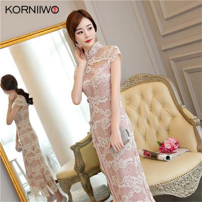 高端品牌妮禾 18夏季新款高档蕾丝长款女士修身显瘦立领镂空旗袍