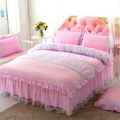 韩式公主风全棉双层蕾丝花边甜美床裙四件套纯棉网纱粉色淑女床品图片