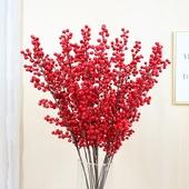仿真单枝果子发财果圣诞红果玻璃陶瓷花器装 包邮 饰果子相思豆高枝