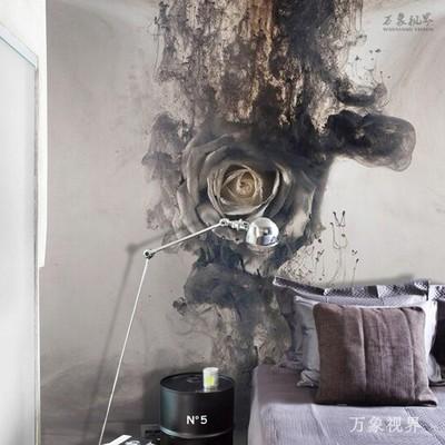 简约现代黑白玫瑰花壁画电视背景墙玄关走廊过道定制墙布水墨壁纸口碑如何