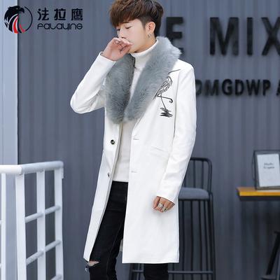 秋冬皮衣男青年中长款韩版修身大毛领帅气加长风衣发型师休闲外套