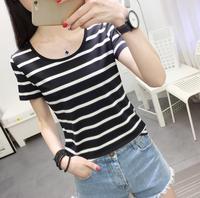 2018韩版夏装新款女装圆领显瘦条纹上衣服女士修身短袖T恤打底衫