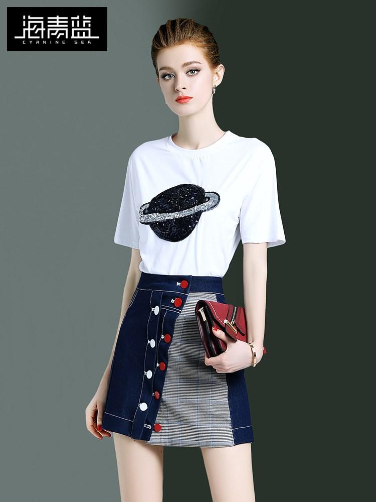 海青蓝2019新款夏装两件套洋气减龄时尚亮片休闲T恤半身裙套装女