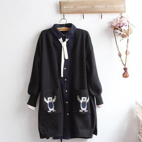 日系可爱卡通小熊刺绣口袋针织披肩 2017秋装新款 宽松毛衣女开衫