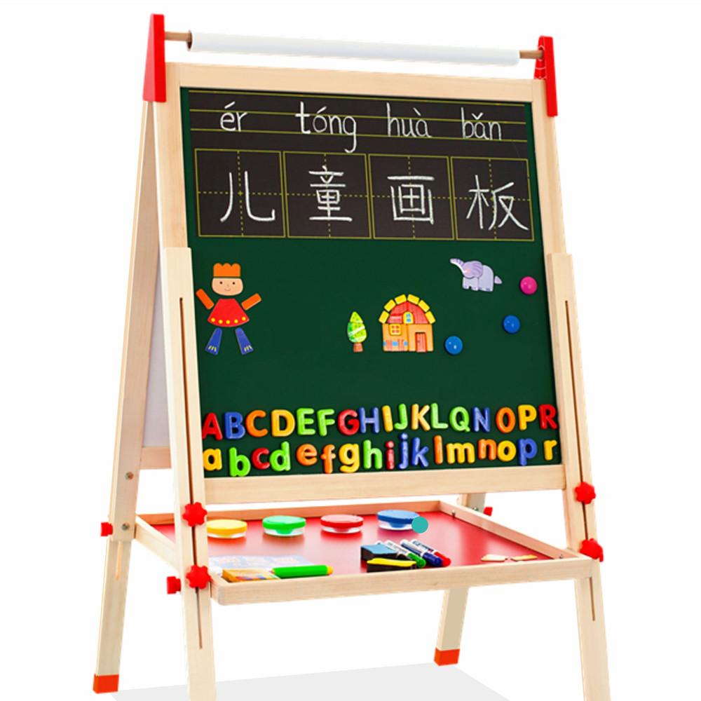 卡卡木儿童画板双面磁性黑板可升降支架式家用宝宝画画涂鸦写字板