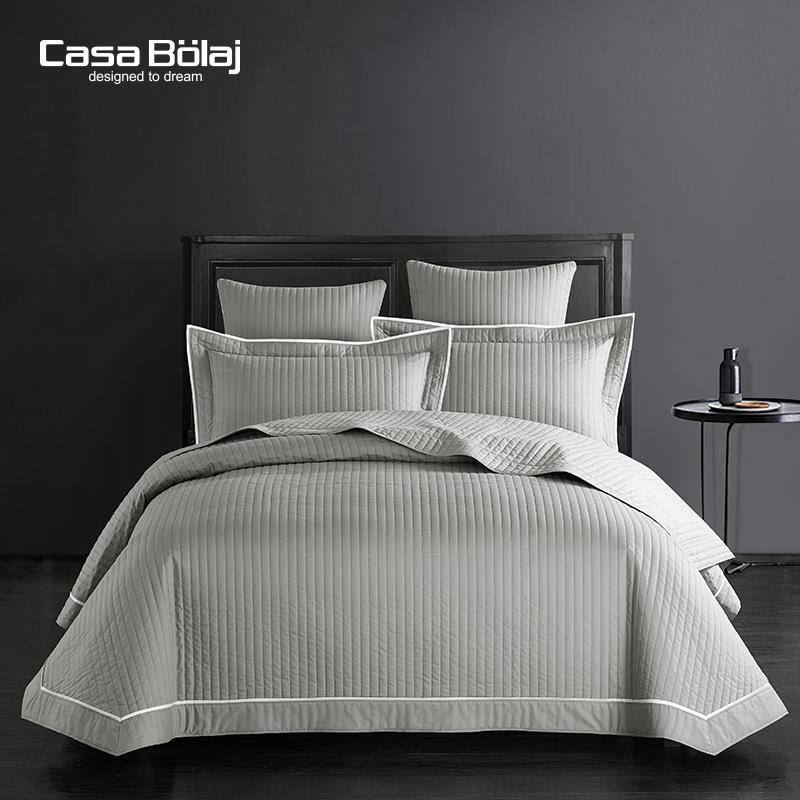出口梅西百货全棉床盖三件套 绗缝防尘装饰空调被灰色床上用品