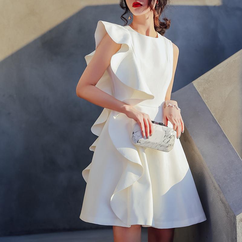 白色晚礼服裙短款2018新款秋名媛洋装小礼服生日派对宴会女连衣裙