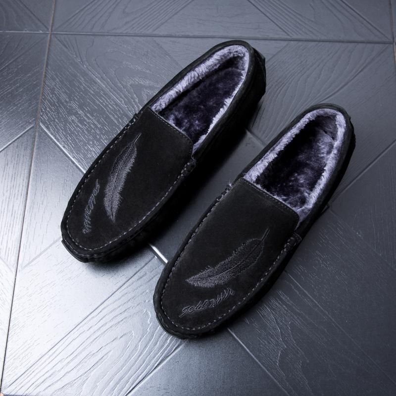 2018冬季加绒皮鞋男士绣花豆豆鞋男鞋真皮复古韩版百搭加棉司机鞋
