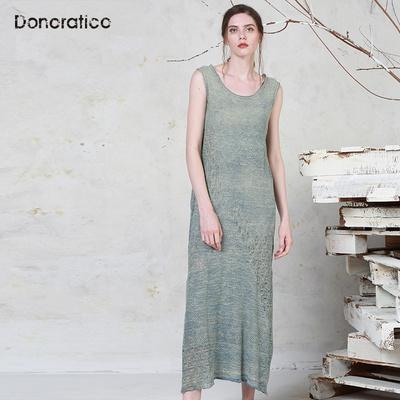 达衣岩夏季新款时尚女装连衣裙棉麻镂空浪漫舒适背心式长款连衣裙