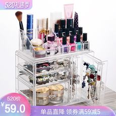 Earrings jewelry storage box drawer transparent acrylic cosmetic lipstick desktop dressing table dust rack
