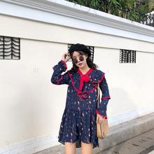 鬼马少女敲美洋气怒推 系带连衣裙 韩国chic复古甜美荷叶边喇叭袖