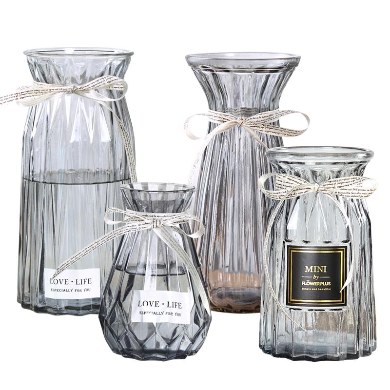 【四件套】玻璃花瓶擺件歐式現代餐廳透明玻璃水培花瓶創意插花瓶