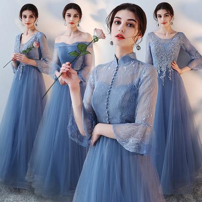 伴娘礼服2018新款秋季蓝色长款姐妹团伴娘服连衣裙宴会艺考晚礼服