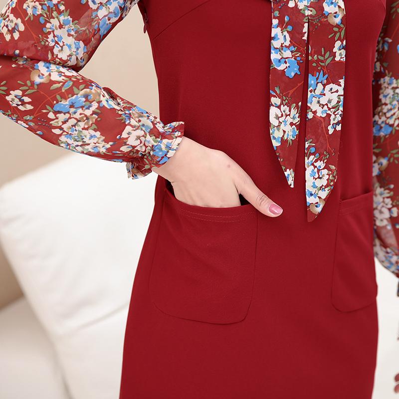 中年女秋装长袖连衣裙2018新款40-50岁小矮个子妈妈时尚春秋裙子