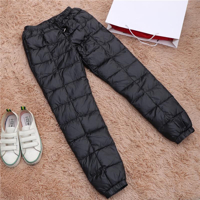 冬中老年人羽绒裤女外穿妈妈高腰大码加厚保暖奶奶宽松白鸭绒棉裤