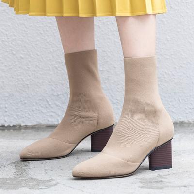 2018春秋新款针织毛线筒粗跟高跟米色弹力靴子显瘦瘦靴袜式短靴女