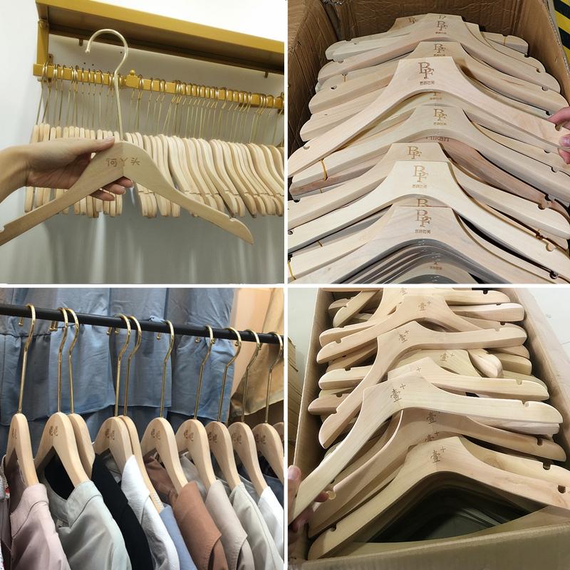 定制logo服装店实木衣架批发木质衣撑无漆原木女装童装店儿童衣架