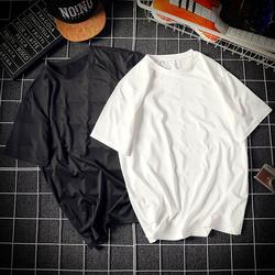 男士短袖T恤港风休闲圆领大码男装上衣服潮男半袖体恤纯色打底衫
