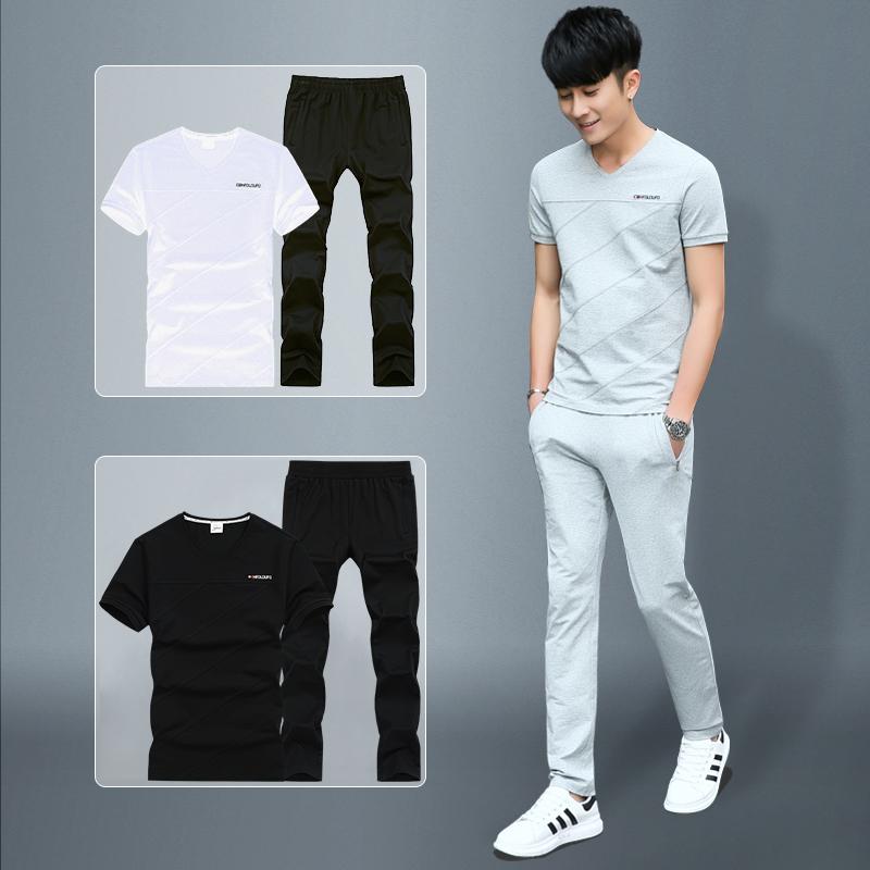 运动套装男夏季2019新款夏装潮流长裤短袖t恤男士休闲套装两件套