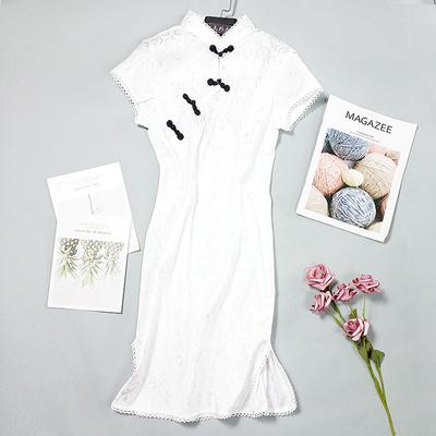 酷伽新品时尚圆领套头修身古典气质显瘦纯色简约优雅旗袍1045