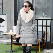 酷伽清仓冬季纯色时尚中长款纯色PU皮棉服外套5216配仿真毛领