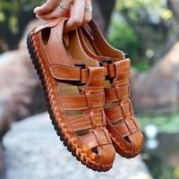 特大码男士凉鞋夏季45真皮包头加肥加宽加大号46户外休闲凉皮鞋47