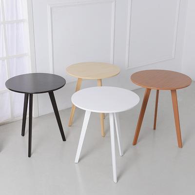 迷你小圆桌子简约现代创意欧式茶几休闲客厅时尚圆形木质三脚户型今日特惠