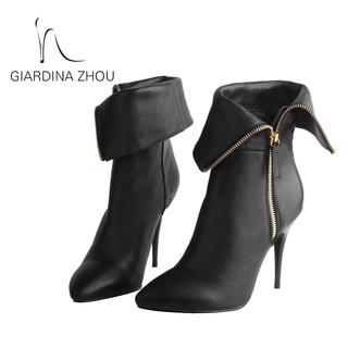 GZ女鞋2019秋冬短靴女2018秋冬新款拉链翻折设计女靴时尚职业短靴