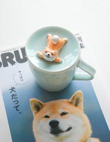 三浅陶社创意杯子陶瓷带盖柴犬马克杯个性情侣可爱咖啡杯套装家用