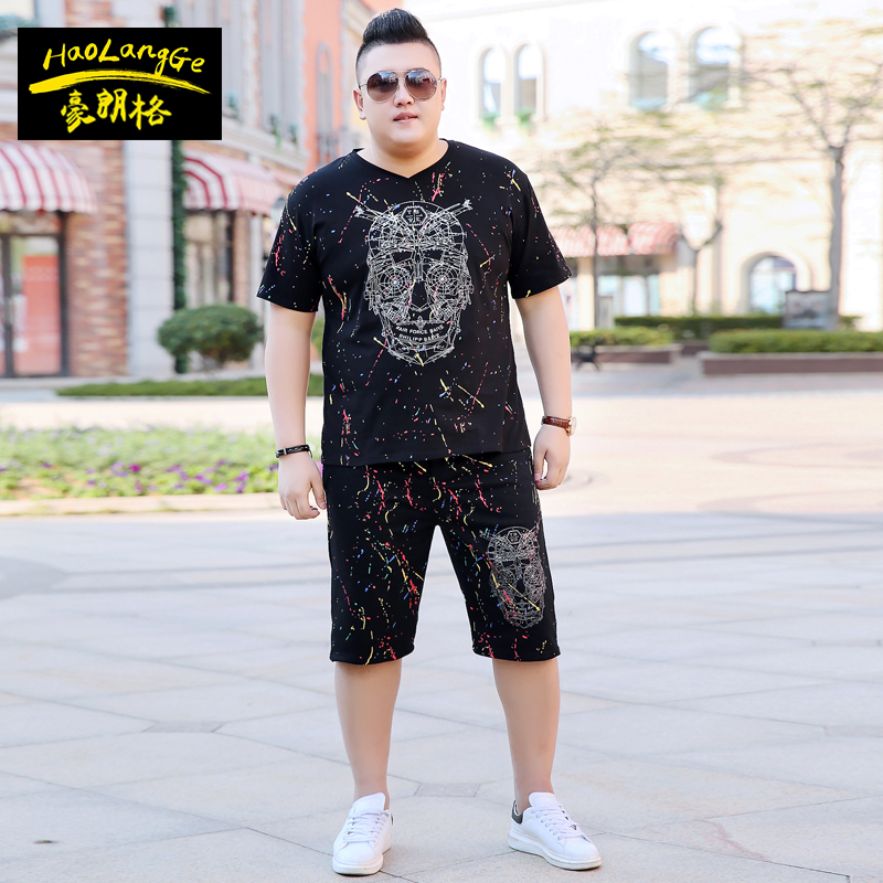 肥佬男加肥加大码短袖T恤套装胖子特大号短裤子休闲运动夏套装