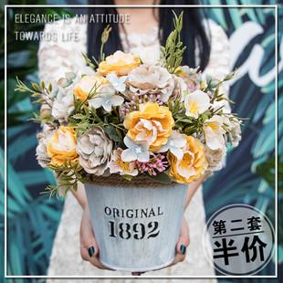 欧式田园仿真花摆件装饰客厅餐厅植物玫瑰花盆栽套装婚庆酒店花卉