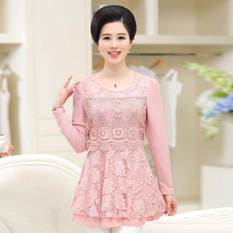 舒兹妈妈装秋季长袖蕾丝连衣裙宽松大码裙子中老年女装打底衫T恤