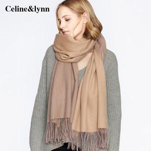 山羊绒双面加厚水波纹披肩两用女 冬季纯色围脖羊毛春秋百搭围巾