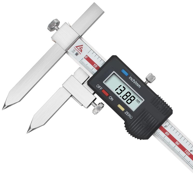 三量中心距锥测头数显卡尺5-150mm不锈钢中心孔距离测量游标卡尺