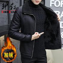 男士加绒皮衣韩版修身羊羔毛外套男装加厚皮夹克机车挡风外穿衣服