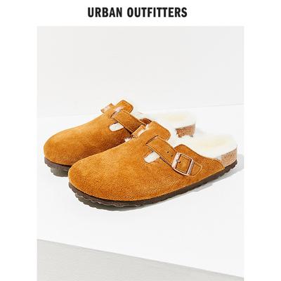 Birkenstock舒适博麂皮人造羊羔绒软家居平底木拖鞋女UO新品
