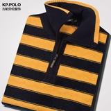 金黄色条纹毛衣中年男士爸爸装加厚立领毛衣针织衫宽松半高领冬季