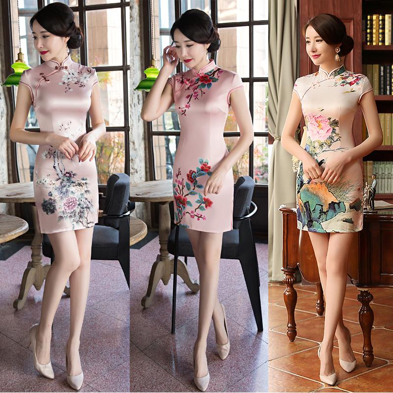夏季丝绸旗袍裙