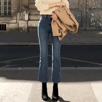 网红垂感微喇叭牛仔裤女2019新款韩版高腰宽松弹力复古直筒九分裤