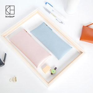 kinbor笔袋糖果色女简约创意PU手包化妆包文具盒韩国简约大容量化妆包学生笔袋