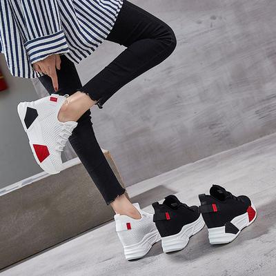2018秋季新款内增高女鞋10cm网红韩版百搭休闲运动显瘦白色单鞋子