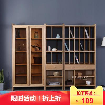 白橡木黑胡桃木北欧简约书柜全实木书柜置物柜餐边柜书架组合书柜年中大促