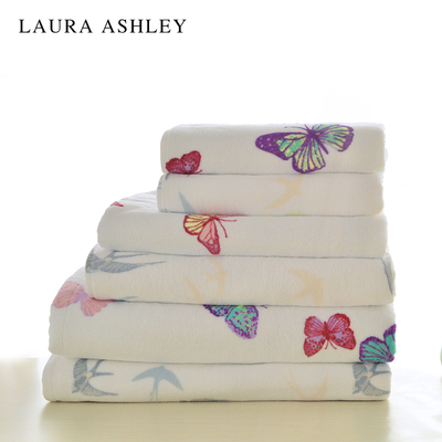 Laura Ashley 全棉印花面巾毛巾浴巾进口纯棉毛浴巾成人加大尺寸